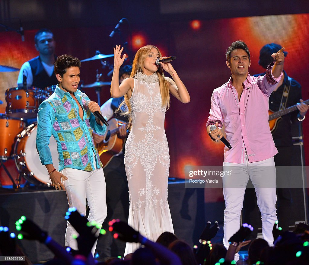 Eiza Gonzalez performs onstage with Marconi during the Premios Juventud 2013 at Bank United Center on July 18 2013 in Miami Florida