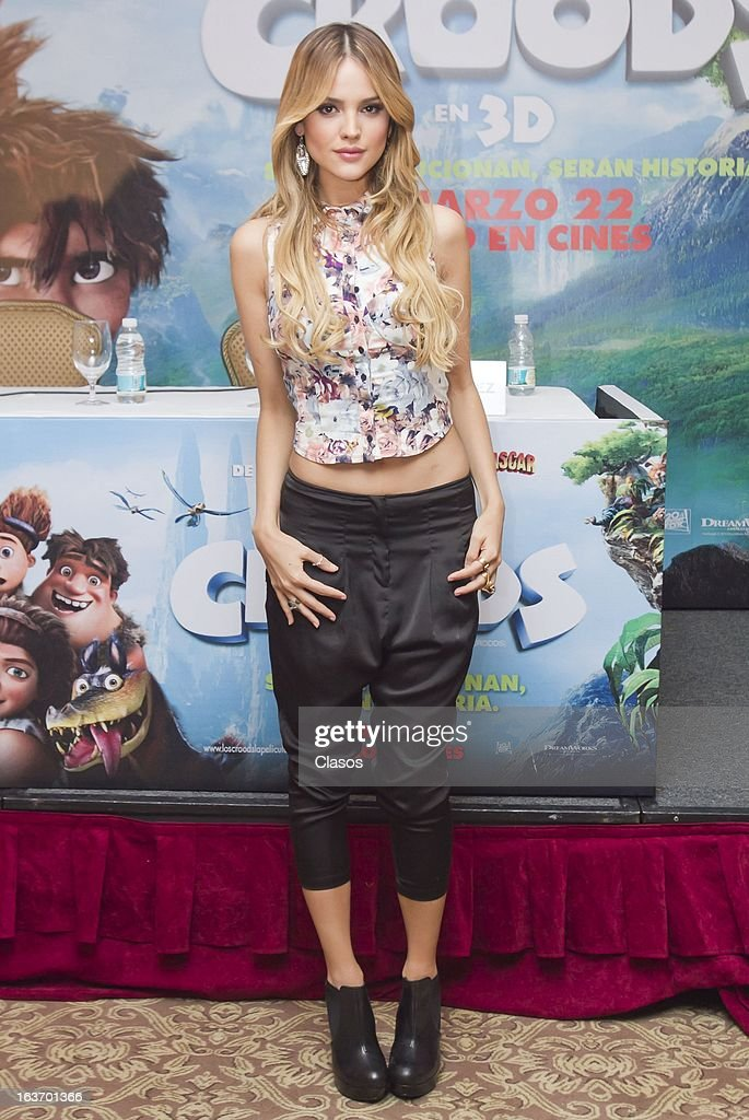 Eiza Gonzalez poses for a photo during a press conference to present the movie Los Croods on March 14, 2013 in Mexico City, Mexico.