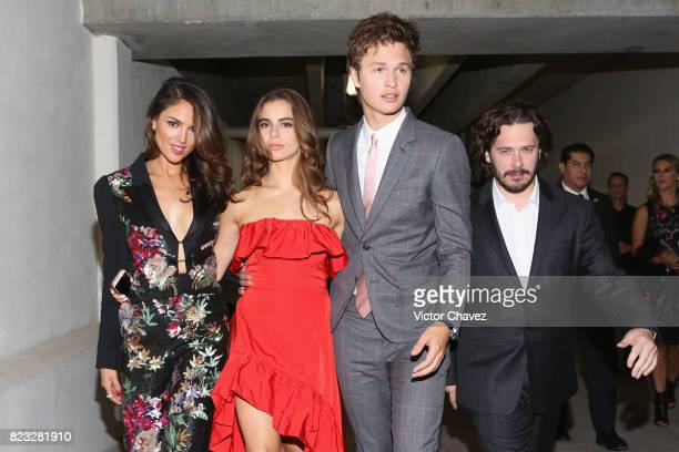 Eiza Gonzalez Violetta Komyshan actor Ansel Elgort and Film director Edgar Wright attend the 'Baby Driver' Mexico City premier at Cinemex Antara...