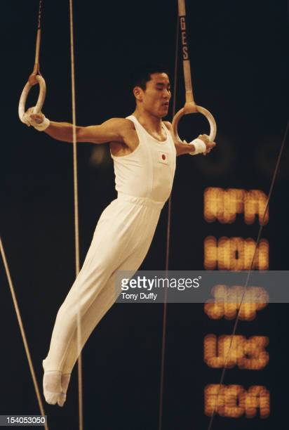 Eizo Kenmotsu of Japan performs during the Men's Rings event on 28th October 1978 during the World Artistic Gymnastics Championships in Strasbourg...
