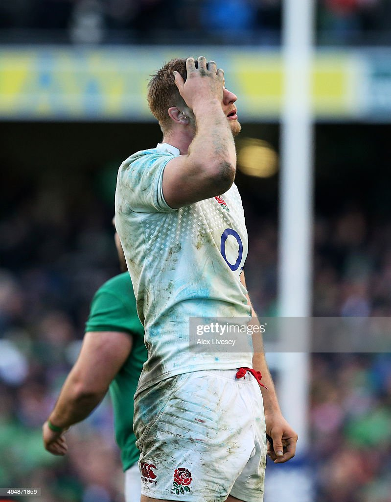 A ejected George Kruis of England reacts during the RBS Six Nations match between Ireland and England at the Aviva Stadium on March 1, 2015 in Dublin, Ireland.