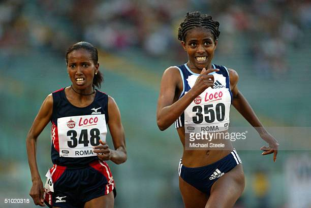 Ejegayehu Dibaba of Ethiopia on her way to win the women's 5000m race at the IAAF Golden Gala meet on July 2 2004 in the Olympic stadium in Rome Italy