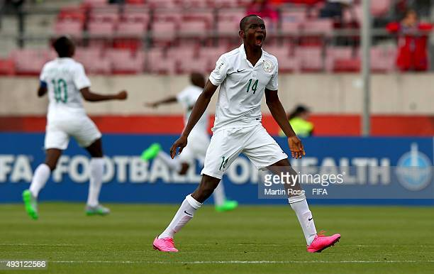 Ejike Ikwu of Nigeria celebrates the opening goal during the FIFA U17 Men's World Cup 2015 group A match between Nigeria and USA at Estadio Nacional...