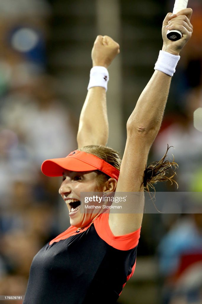 Ekatarina Makarova of Russia celebrates match point against Agnieszka Radwanska of Poland during their third round match on Day Seven of the 2013 US Open at USTA Billie Jean King National Tennis Center on September 1, 2013 in the Flushing neighborhood of the Queens borough of New York City.