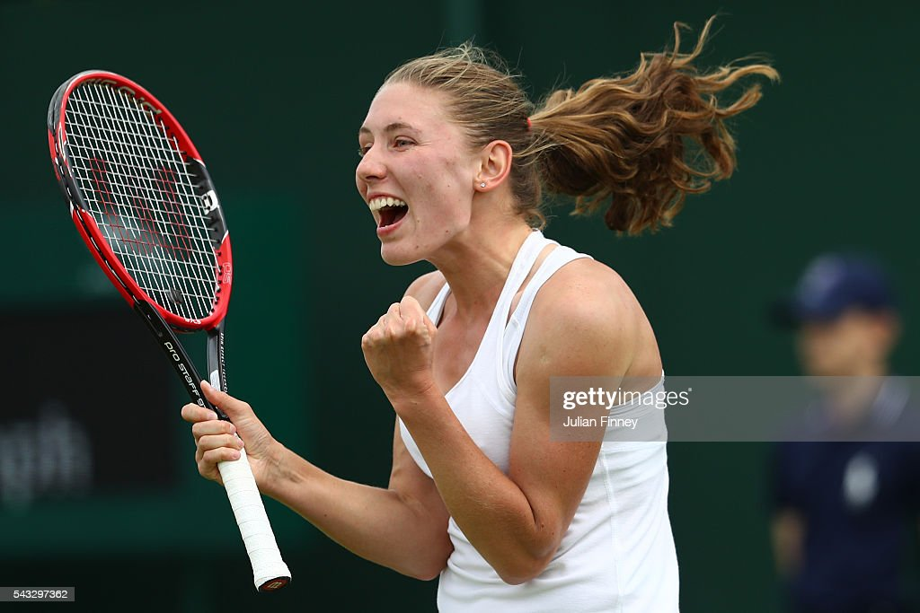 Ekaterina Alexandrova celebrates victory following the Ladies Singles first round match against Ana Ivanovic on day one of the Wimbledon Lawn Tennis Championships at the All England Lawn Tennis and Croquet Club on June 27th, 2016 in London, England.