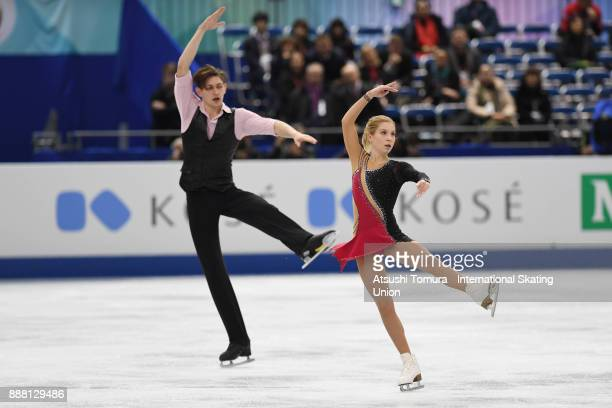 Ekaterina Alexandrovskaya and Harley Windsor of Australia compete in the Junior pairs free skating during the ISU Junior Senior Grand Prix of Figure...