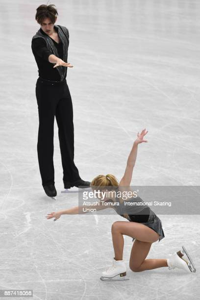 Ekaterina Alexandrovskaya and Harley Windsor of Austria compete in the Junior pairs short progam during the ISU Junior Senior Grand Prix of Figure...
