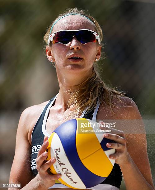 Ekaterina Birlova of Russia lokks on during the main draw match against Finland at Pajucara beach during day four of the FIVB Beach Volleyball World...