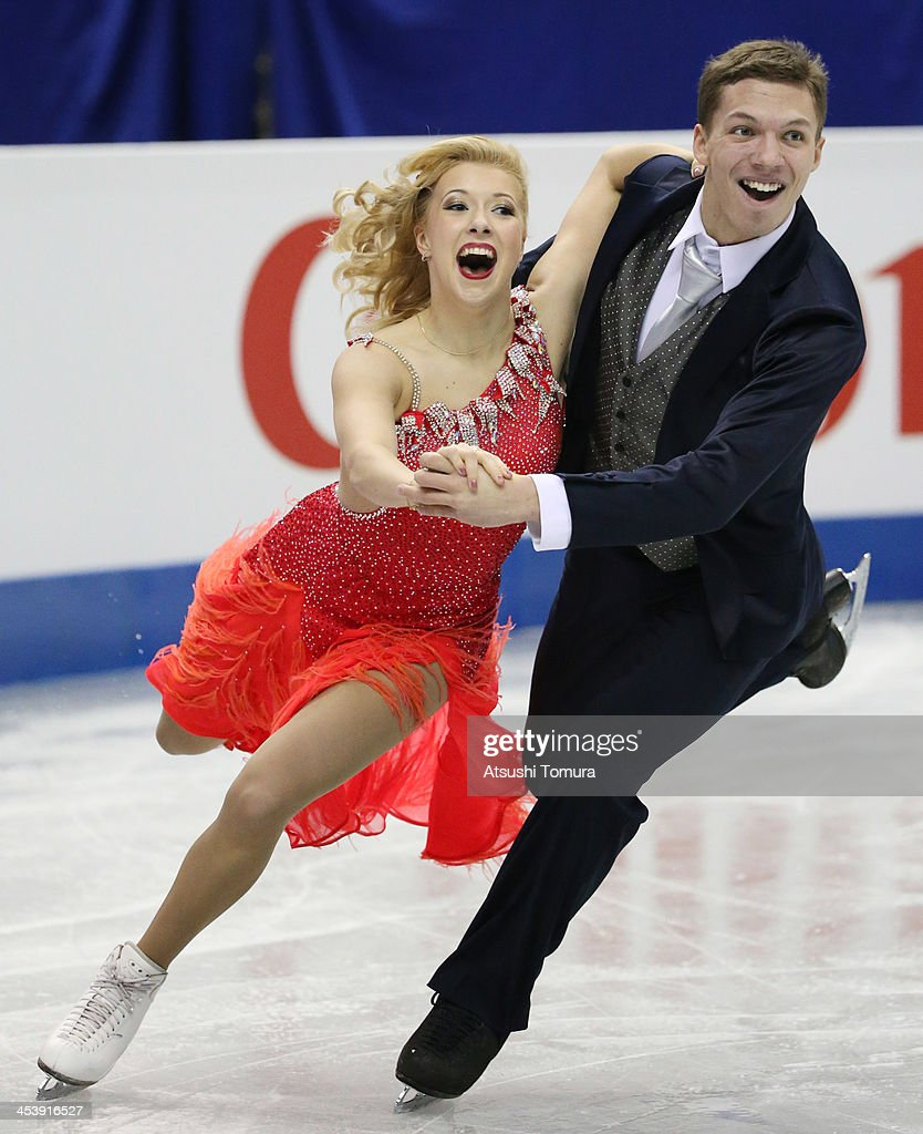 <a gi-track='captionPersonalityLinkClicked' href=/galleries/search?phrase=Ekaterina+Bobrova&family=editorial&specificpeople=4607767 ng-click='$event.stopPropagation()'>Ekaterina Bobrova</a> and Dimitri Soloviev of Russia compete in the ice dance short dance during day two of the ISU Grand Prix of Figure Skating Final 2013/2014 at Marine Messe Fukuoka on December 6, 2013 in Fukuoka, Japan.
