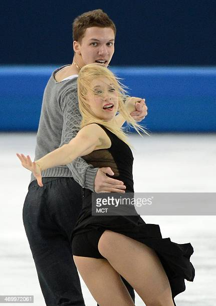 Ekaterina Bobrova and Dimitri Soloviev of Russia perform their free dance during the ice dancing competition at the Iceberg Skating Palace during the...