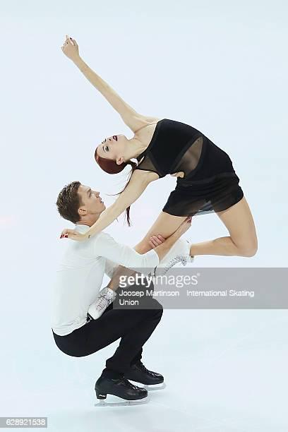 Ekaterina Bobrova and Dmitri Soloviev of Russia compete during Senior Ice Dance Free Dance on day three of the ISU Junior and Senior Grand Prix of...
