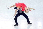 Ekaterina Bobrova and Dmitri Soloviev of Russia compete in the Figure Skating Team Ice Dance Short Dance during day one of the Sochi 2014 Winter...