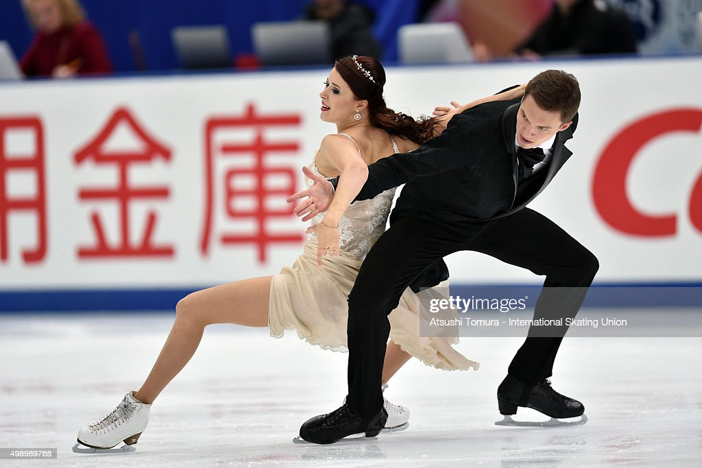 <a gi-track='captionPersonalityLinkClicked' href=/galleries/search?phrase=Ekaterina+Bobrova&family=editorial&specificpeople=4607767 ng-click='$event.stopPropagation()'>Ekaterina Bobrova</a> and <a gi-track='captionPersonalityLinkClicked' href=/galleries/search?phrase=Dmitri+Soloviev&family=editorial&specificpeople=4607766 ng-click='$event.stopPropagation()'>Dmitri Soloviev</a> of Russia perform during the Ice dance short dance on day two of the NHK Trophy ISU Grand Prix of Figure Skating 2015 at the Big Hat on November 28, 2015 in Nagano, Japan.