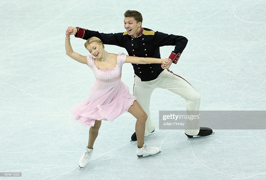<a gi-track='captionPersonalityLinkClicked' href=/galleries/search?phrase=Ekaterina+Bobrova&family=editorial&specificpeople=4607767 ng-click='$event.stopPropagation()'>Ekaterina Bobrova</a> and <a gi-track='captionPersonalityLinkClicked' href=/galleries/search?phrase=Dmitri+Soloviev&family=editorial&specificpeople=4607766 ng-click='$event.stopPropagation()'>Dmitri Soloviev</a> of Russia perform in the Ice Dance Short during the Grand Prix of Figure Skating Final 2012 at the Iceberg Skating Palace on December 7, 2012 in Sochi, Russia.