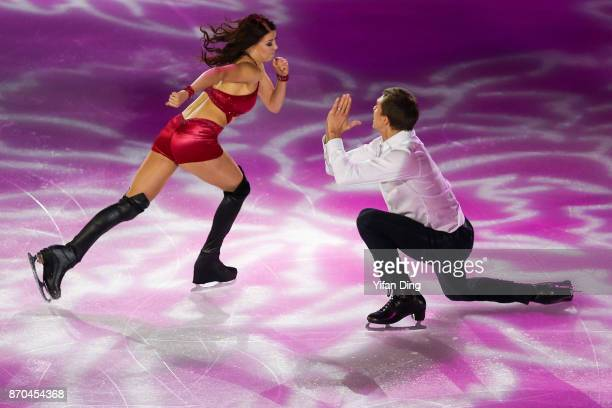 Ekaterina Bobrova and Dmitri Soloviev of Russia performs during exhibition program of Audi Cup of China ISU Grand Prix of Figure Skating 2017 at...