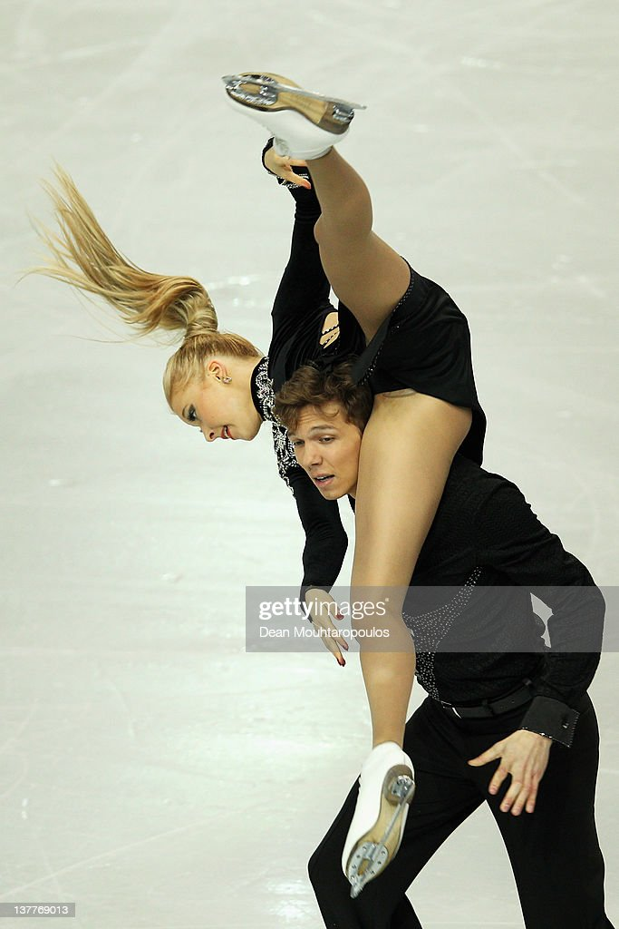 <a gi-track='captionPersonalityLinkClicked' href=/galleries/search?phrase=Ekaterina+Bobrova&family=editorial&specificpeople=4607767 ng-click='$event.stopPropagation()'>Ekaterina Bobrova</a> and <a gi-track='captionPersonalityLinkClicked' href=/galleries/search?phrase=Dmitri+Soloviev&family=editorial&specificpeople=4607766 ng-click='$event.stopPropagation()'>Dmitri Soloviev</a> of Russia preform in the Ice Dance Short dance during the ISU European Figure Skating Championships at Motorpoint Arena on January 25, 2012 in Sheffield, England.