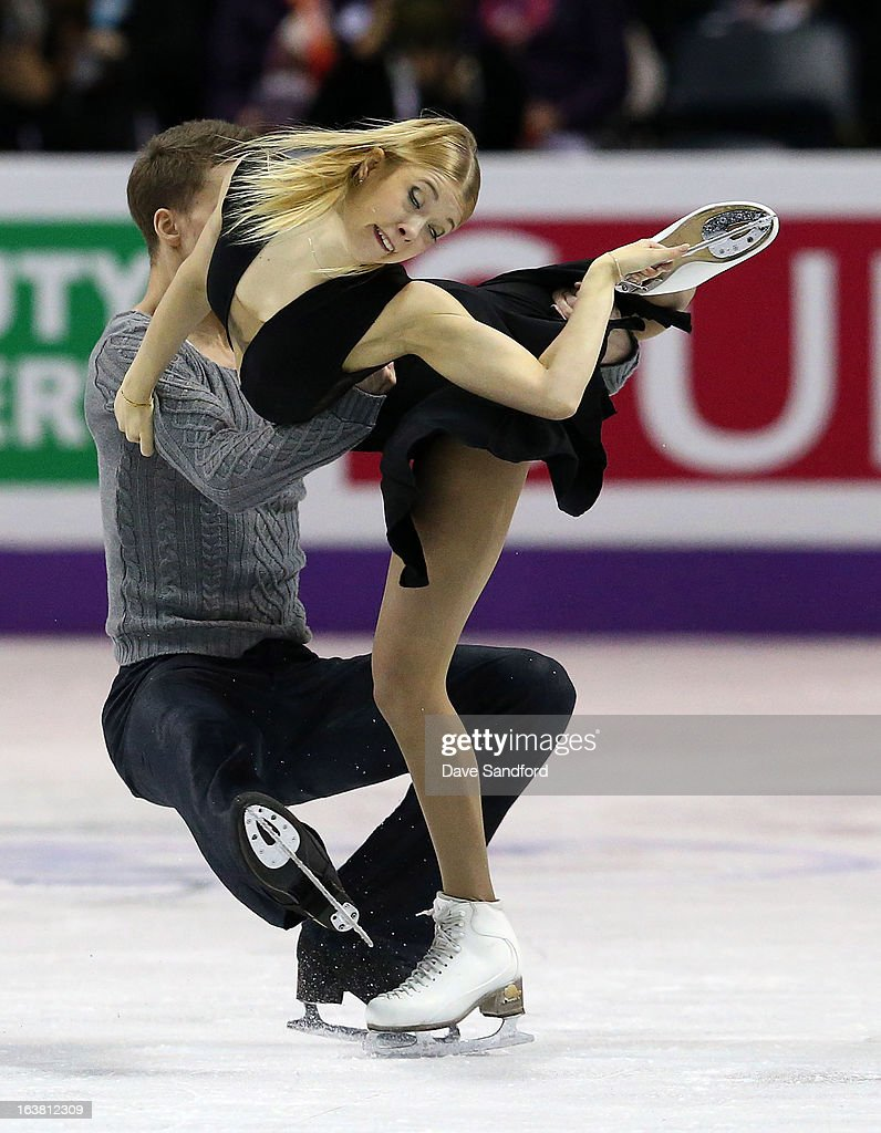 Ekaterina Bobrova and Dmitri Soloviev of Russia skate in the Ice Dance Free Dance Program during the 2013 ISU World Figure Skating Championships at Budweiser Gardens on March 16, 2013 in London, Ontario, Canada.