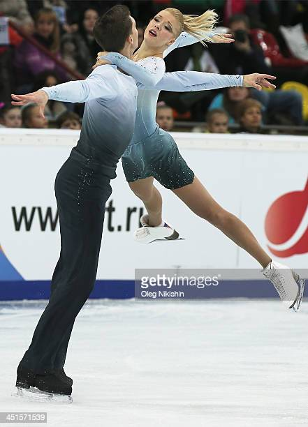 Ekaterina Bobrova and Dmitri Soloviev of Russia skates in the Ice Dance Free Dance during ISU Rostelecom Cup of Figure Skating 2013 on November 23...