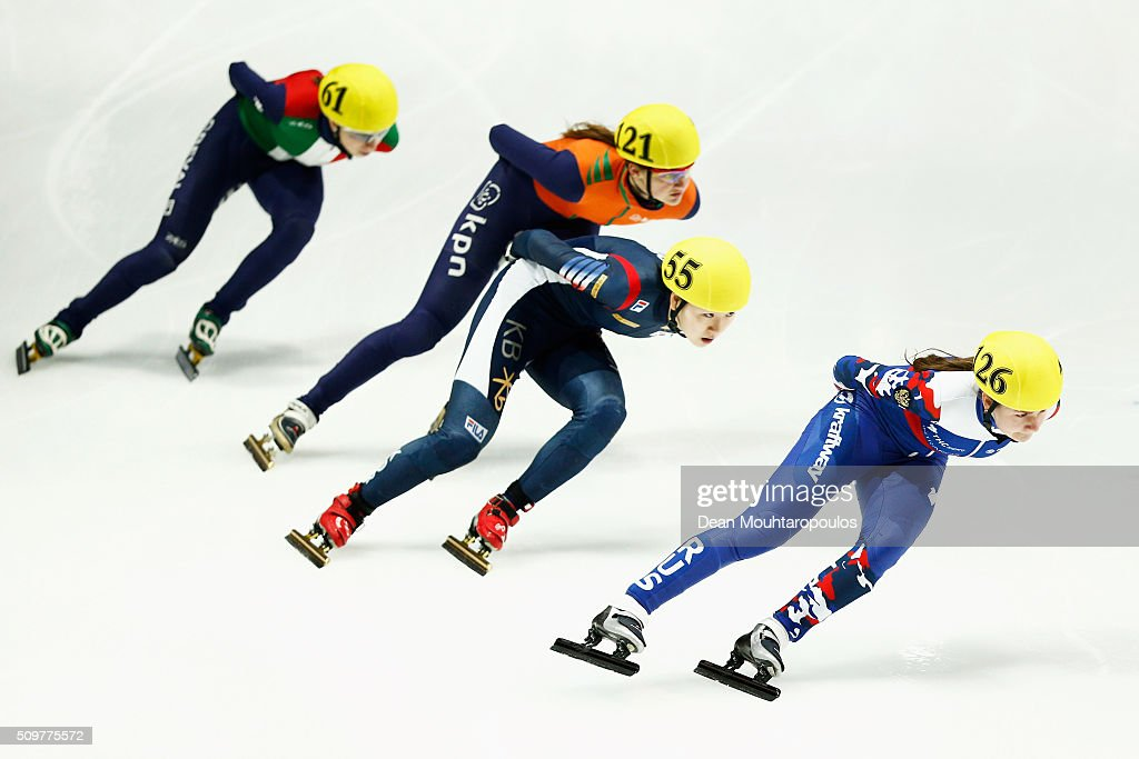 Ekaterina Efremenkova of Russia, Do Hee Noh of South Korea, Roza Kooystra of the Netherlands and Lucia Peretti of Italy compete in the 1000m heats during ISU Short Track Speed Skating World Cup held at The Sportboulevard on February 12, 2016 in Dordrecht, Netherlands.