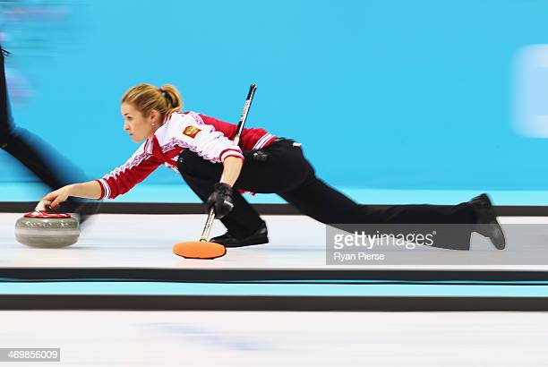 Ekaterina Galkinaof Russia competes during the Curling Women's Round Robin match between Russia and Great Britain on day ten of the Sochi 2014 Winter...