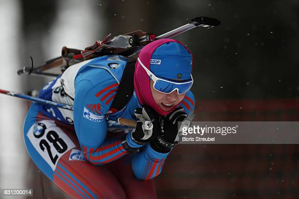 Ekaterina Glazyrina of Russia competes during the 10 km women's Pursuit on January 7 2017 in Oberhof Germany
