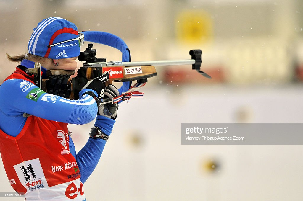 Ekaterina Glazyrina of Russia competes during the IBU Biathlon World Championship Women's 15km Individual on February 13, 2013 in Nove Mesto, Czech Republic.