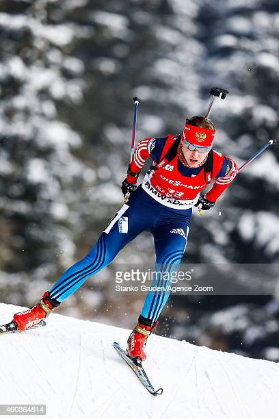 Ekaterina Glazyrina of Russia competes during the IBU Biathlon World Cup Men's and Women's Sprint on December 12 2014 in Hochfilzen Austria