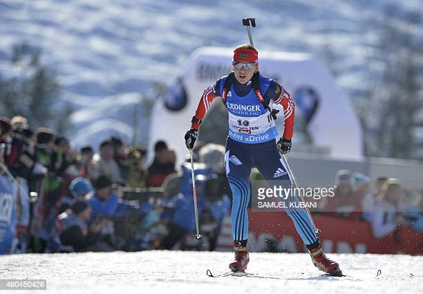 Ekaterina Glazyrina of Russia competes during the women's10km pursuit competition of the IBU Biathlon World Cup in Hochfilzen Austria on December 14...