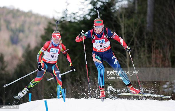 Ekaterina Glazyrina of Russia in action during the women's 4x6km relay on day one of the EOn IBU World Cup Biathlon on January 8 2014 in Ruhpolding...