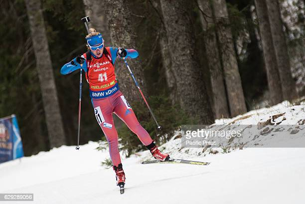 POKLJUKA SLOVENIA POKLJUKA SLOVENIA Ekaterina Glazyrina of Russia on the course during women 75 km sprint at Biathlon World Cup race