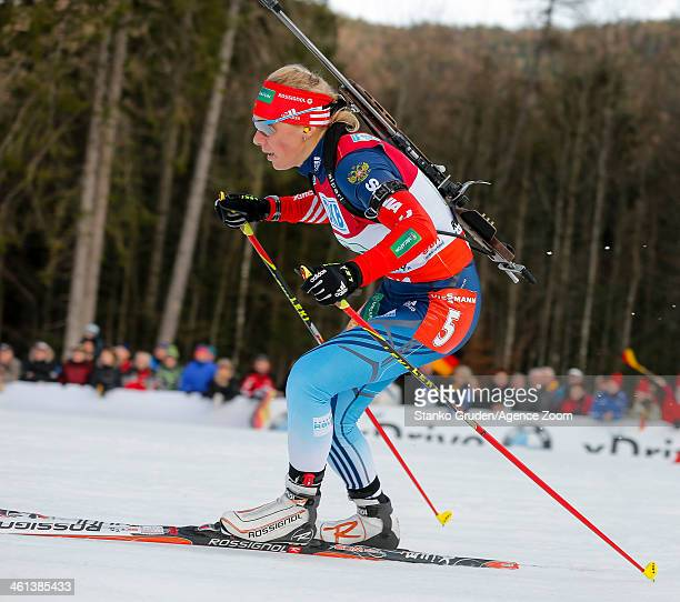 Ekaterina Glazyrina of Russia takes 1st place during the IBU Biathlon World Cup Women's Relay on January 08 2014 in Ruhpolding Germany