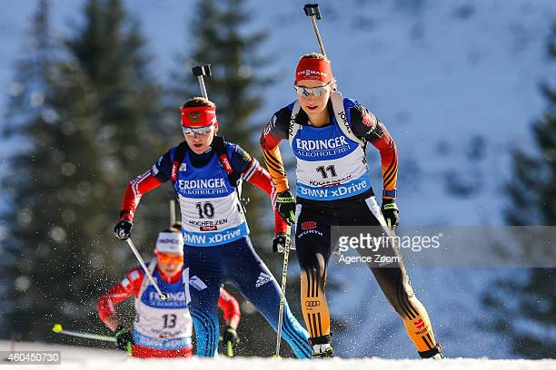 Ekaterina Glazyrina of Russia takes 2nd palce during the IBU Biathlon World Cup Men's and Women's Pursuit on December 14 2014 in Hochfilzen Austria