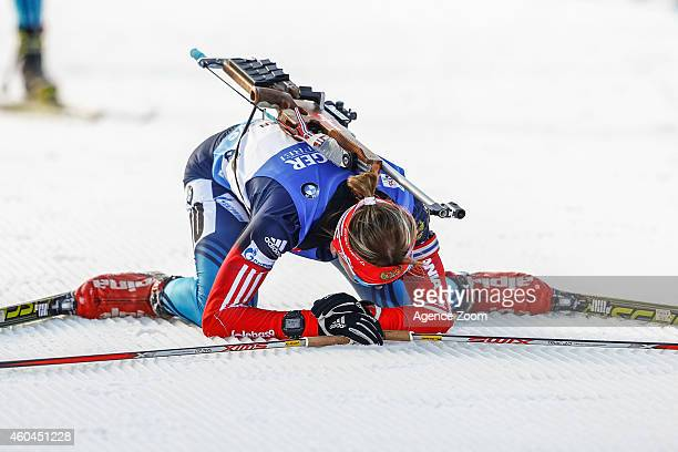 Ekaterina Glazyrina of Russia takes 2nd place during the IBU Biathlon World Cup Men's and Women's Pursuit on December 14 2014 in Hochfilzen Austria