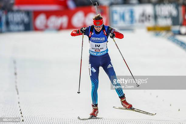 Ekaterina Glazyrina of Russia takes 2nd plave during the IBU Biathlon World Cup Men's and Women's Pursuit on December 14 2014 in Hochfilzen Austria