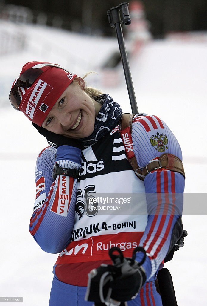 Ekaterina Iourieva of Russia smiles as she finishes the women's biathlon World Cup 15 km individual race in Pokljuka, 13 December 2007. Iourieva won the race. Iourieva won the event ahead of Italy's Michela Ponza and Germany's Martina Glagow.