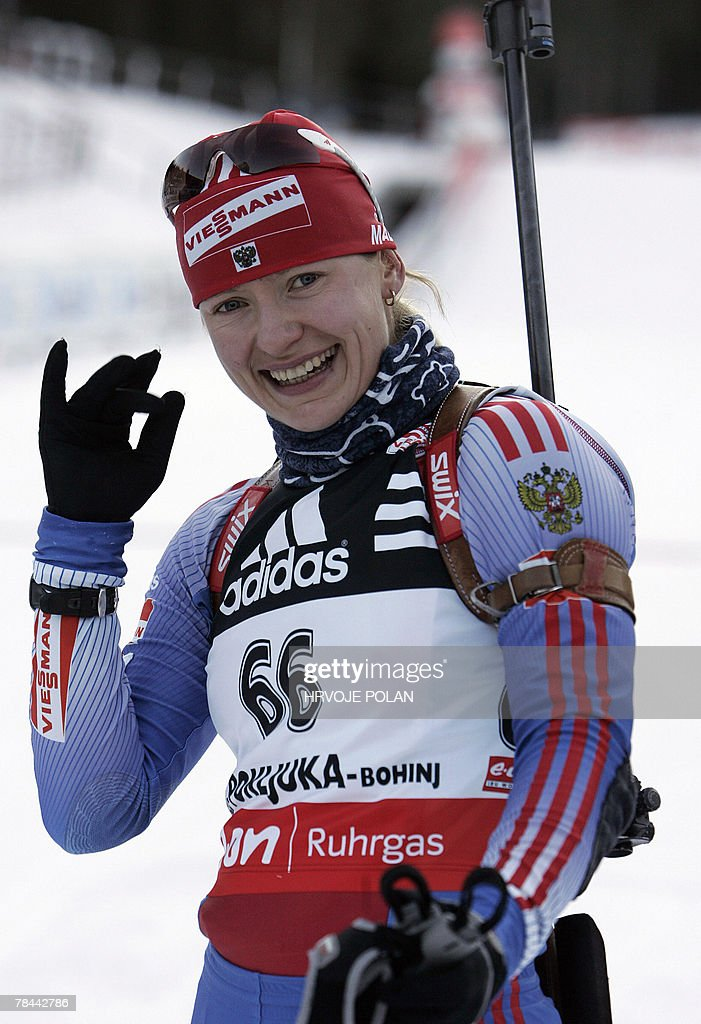 Ekaterina Iourieva of Russia smiles as she finishes the women's biathlon World Cup 15 km individual race in Pokljuka, 13 December 2007. Iourieva won the race. Iourieva won the event ahead of Italy's Michela Ponza and Germany's Martina Glagow. AFP PHOTO / HRVOJE POLAN