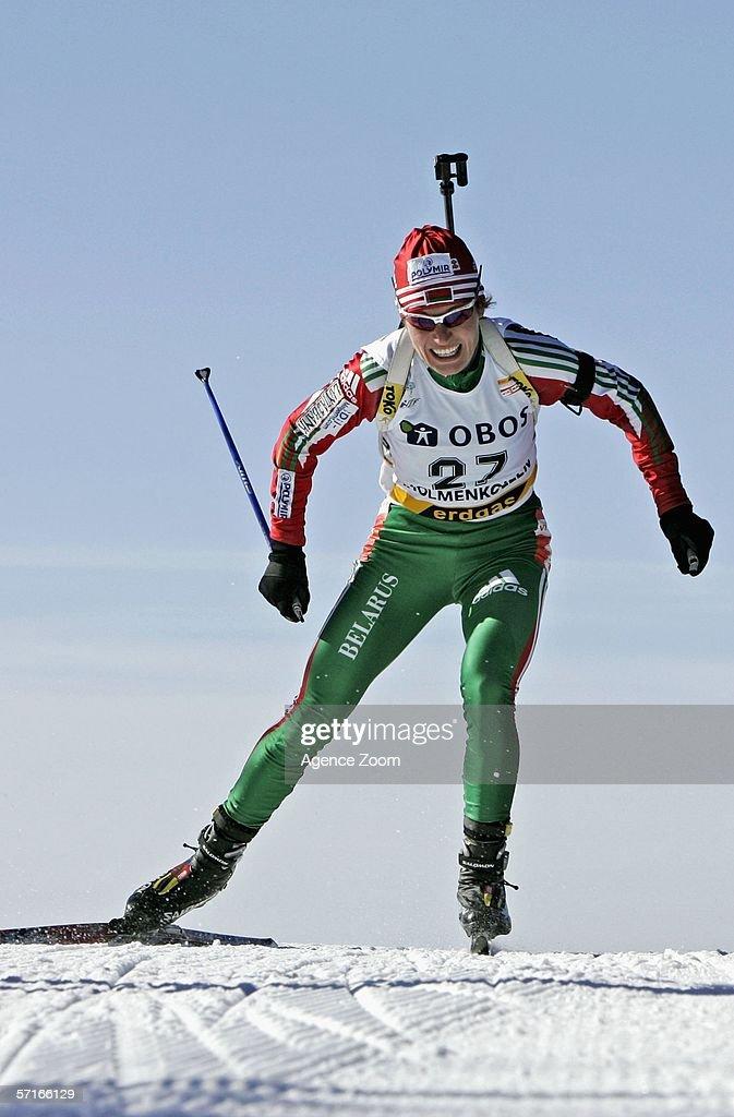 Ekaterina Ivanova of Belarus in action during the IBU Biathlon World Cup Women's 7,5km Sprint on March 23, 2006 in Holmenkollen, Norway.