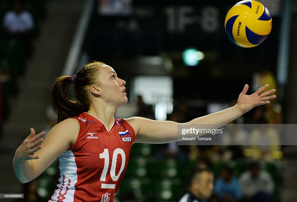 Ekaterina Kosianenko of Russia serves the ball during the FIVB World Grand Prix Final group one match between Russia and China on August 24, 2014 in Tokyo, Japan.