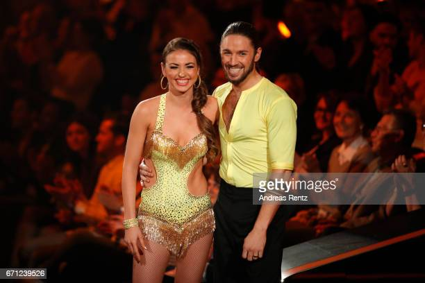 Ekaterina Leonova and Gil Ofarim perform on stage during the 5th show of the tenth season of the television competition 'Let's Dance' on April 21...