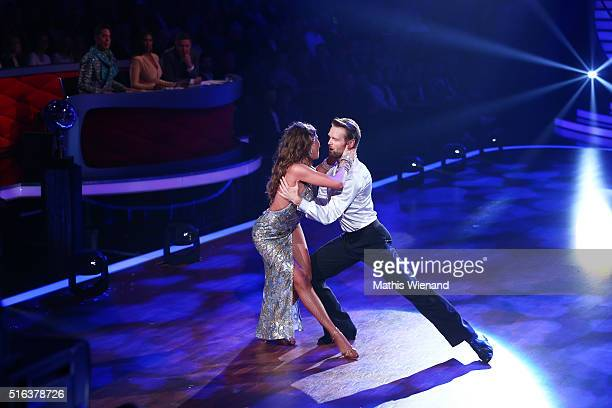 Ekaterina Leonova and Julius Brink perform on stage during the 2nd show of the television competition 'Let's Dance' on March 18 2016 in Cologne...