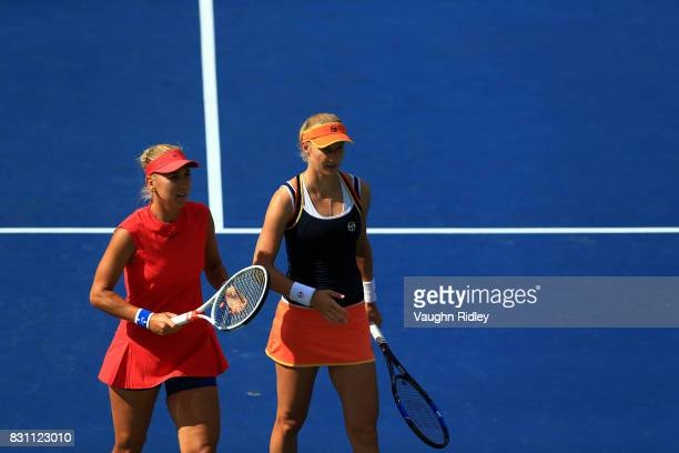 Ekaterina Makarova and Elena Vesnina of Russia compete against AnnaLena Groenefeld of Germany and Kveta Peschke of Czech Republic in the doubles...