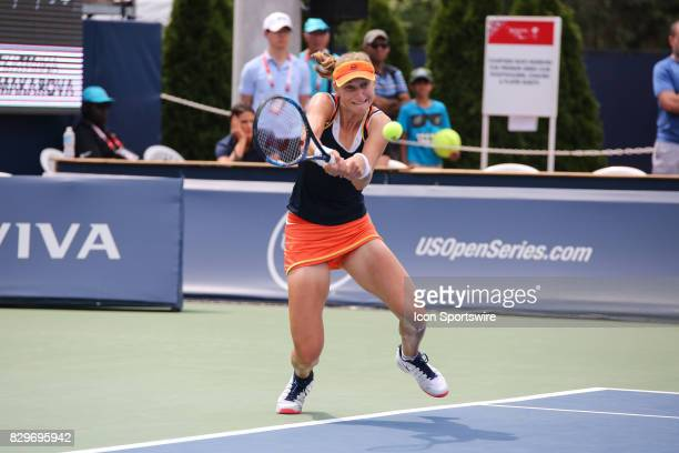 Ekaterina Makarova during the third round of the 2017 Rogers Cup tennis tournament on August 10 at the Aviva Centre in Toronto ON Canada