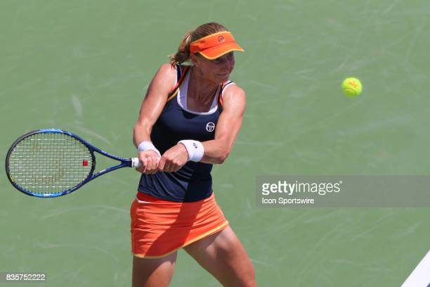 Ekaterina Makarova hits a backhand during the Western Southern Open at the Lindner Family Tennis Center in Mason Ohio on August 18th 2017