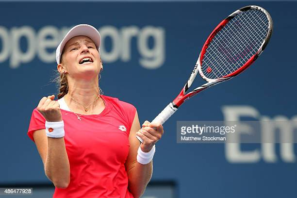 Ekaterina Makarova of Russia celebrates after defeating Elina Svitolina of the Ukraine during their Women's Singles Third Round match on Day Five of...