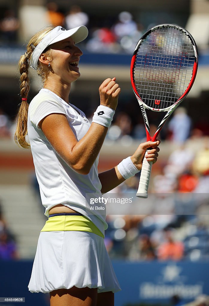 <a gi-track='captionPersonalityLinkClicked' href=/galleries/search?phrase=Ekaterina+Makarova&family=editorial&specificpeople=2364239 ng-click='$event.stopPropagation()'>Ekaterina Makarova</a> of Russia celebrates after defeating Victoria Azarenka of Belarus in their women's singles quarterfinal match on Day Ten of the 2014 US Open at the USTA Billie Jean King National Tennis Center on September 3, 2014 in the Flushing neighborhood of the Queens borough of New York City. Makarova defeated Azarenka 6-4, 6-2.