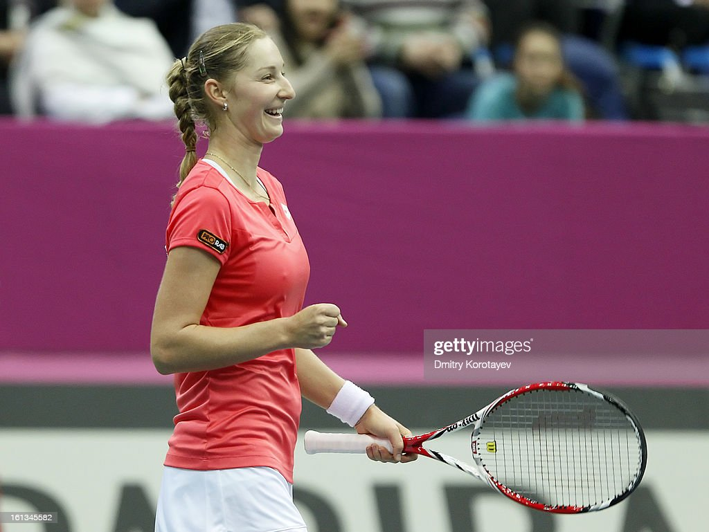 Ekaterina Makarova of Russia celebrates after winning against Kimiko Date-Krumm of Japan during day two of the Federation Cup 2013 World Group Quarterfinal match between Russia and Japan at Olympic Stadium on February 10, 2013 in Moscow, Russia.