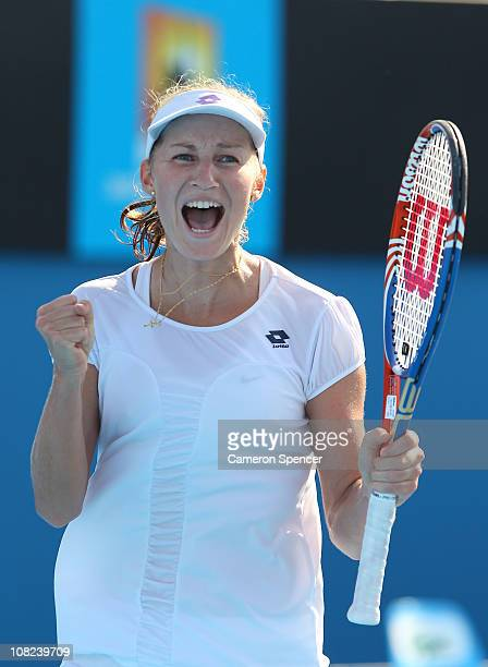 Ekaterina Makarova of Russia celebrates after winning her third round match against Nadia Petrova of Russia during day six of the 2011 Australian...