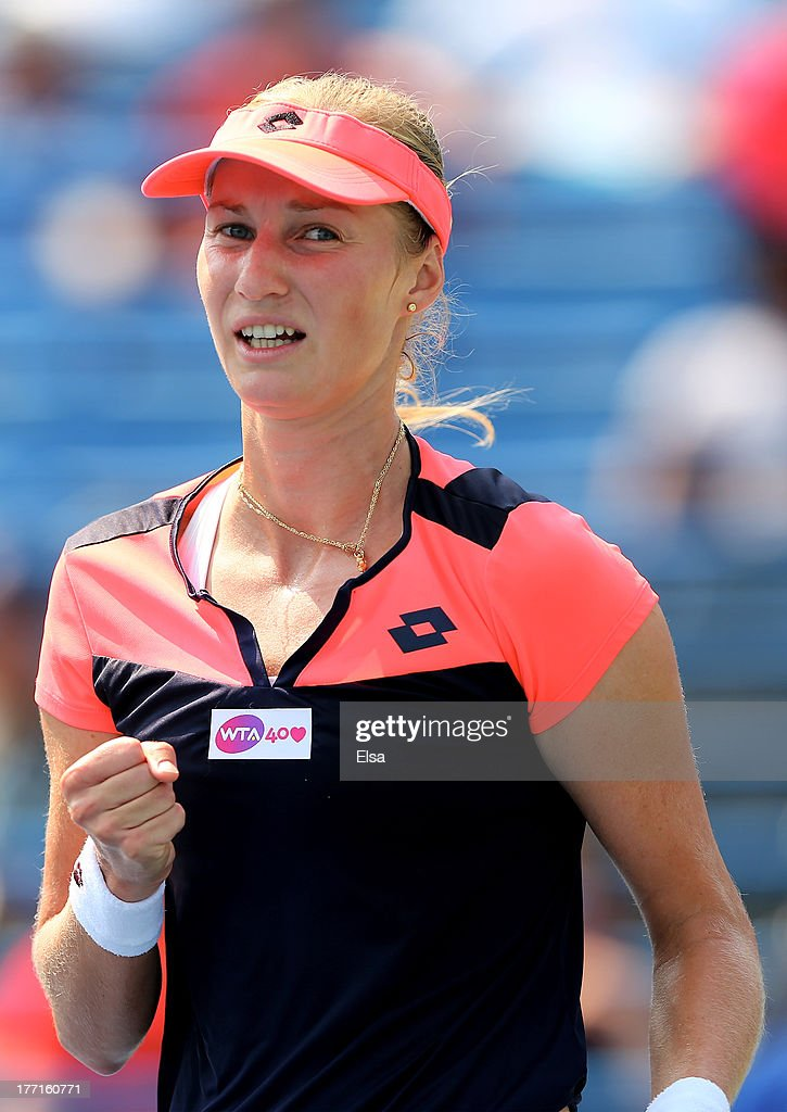 <a gi-track='captionPersonalityLinkClicked' href=/galleries/search?phrase=Ekaterina+Makarova&family=editorial&specificpeople=2364239 ng-click='$event.stopPropagation()'>Ekaterina Makarova</a> of Russia celebrates her match win over Sara Errani of Italy during Day Four of the New Have Open at Connecticut Tennis Center at Yale on August 21, 2013 in New Haven, Connecticut.