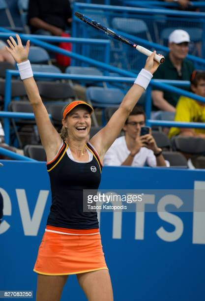Ekaterina Makarova of Russia celebrates her win over Julia Goerges of Germany at William HG FitzGerald Tennis Center on August 6 2017 in Washington DC