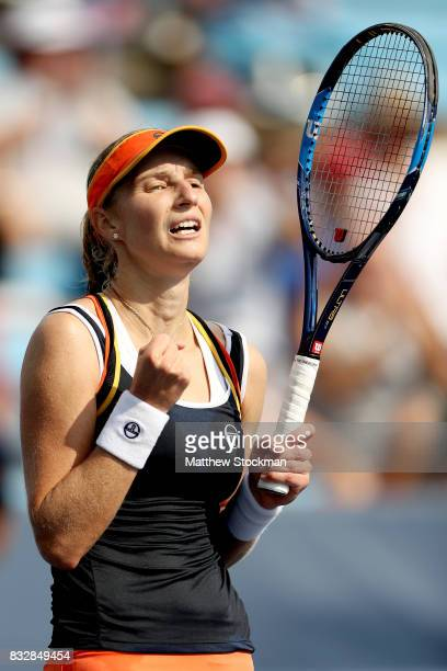 Ekaterina Makarova of Russia celebrates match point against Angelique Kerber of Germany during day 5 of the Western Southern Open at the Lindner...